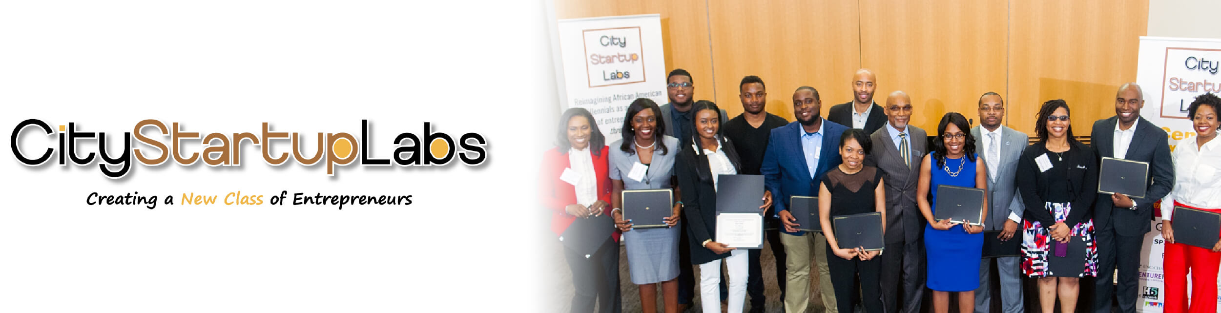 City Startup Labs with African American professionals posing for group photo